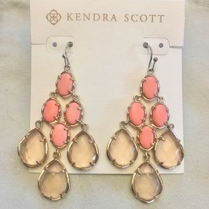 Amelia peach and coral in gold earrings